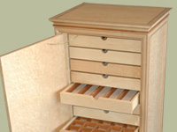 Birdseye maple jewelry cabinet by mitchel berman for Birdseye maple kitchen cabinets