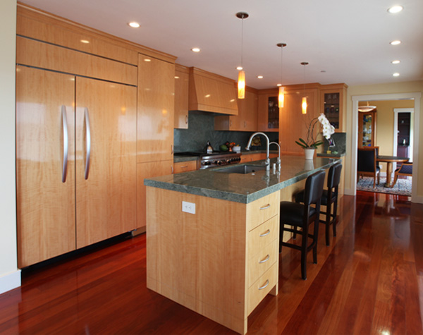Figured anigre kitchen design by mitchel berman cabinets for Anigre kitchen cabinets