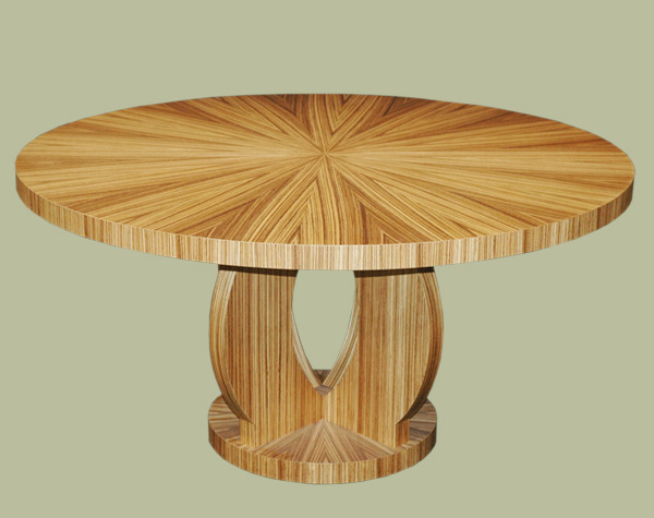 Custom Zebra Wood Dining Table By Mitchel Berman